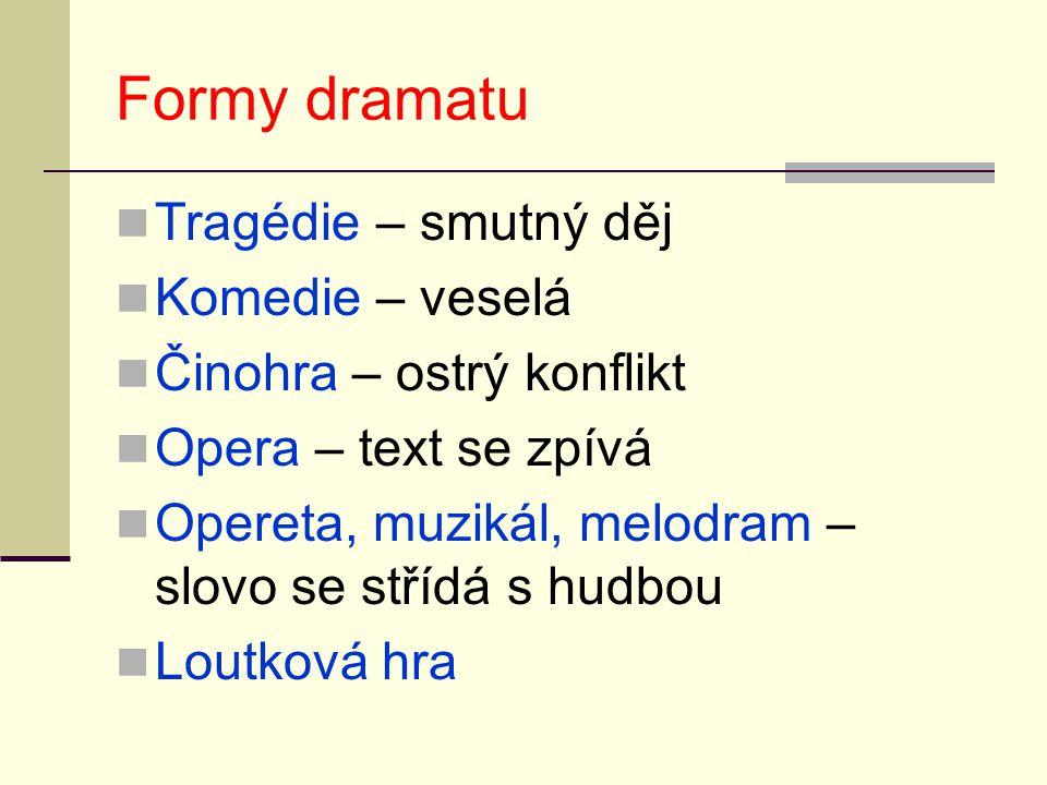 Formy dramatu Tragédie – smutný děj Komedie – veselá