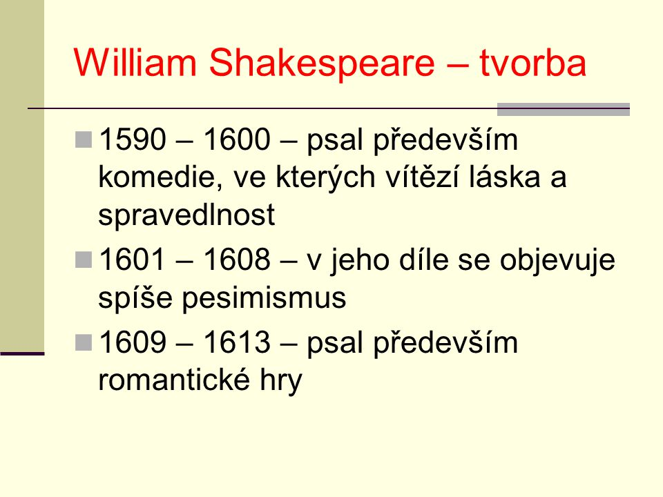William Shakespeare – tvorba