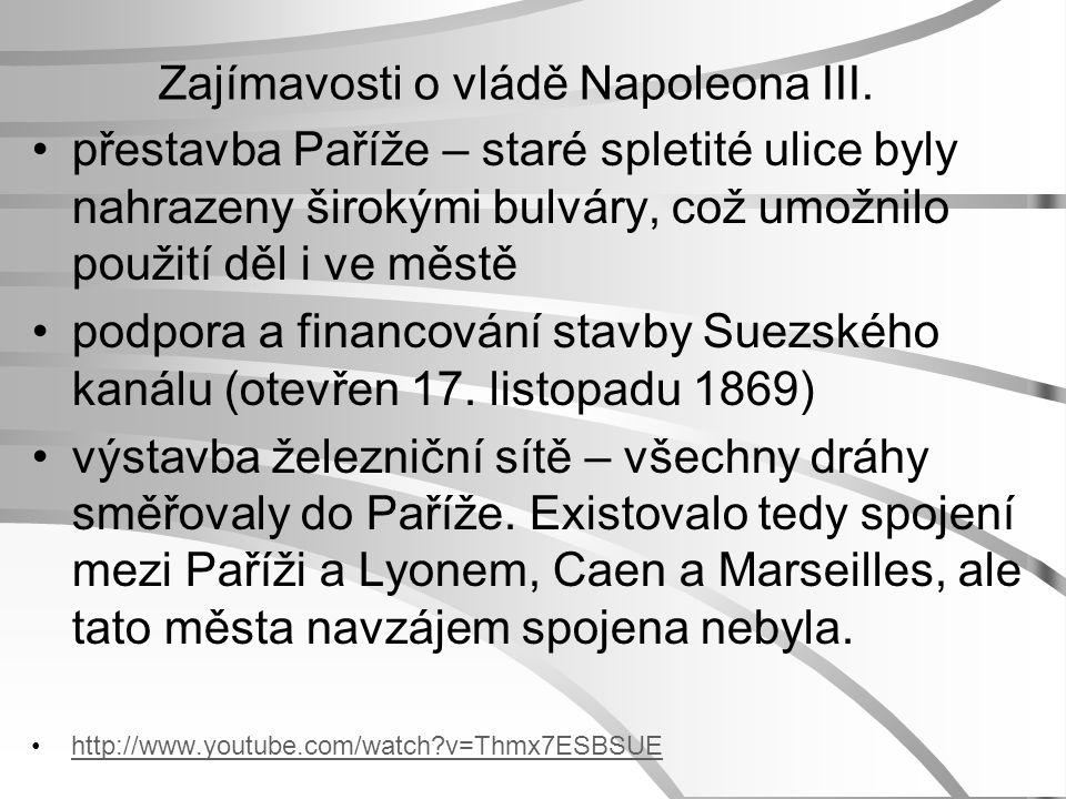 Zajímavosti o vládě Napoleona III.