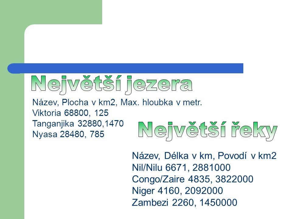 Největší jezera Název, Plocha v km2, Max. hloubka v metr. Viktoria 68800, 125 Tanganjika 32880,1470.