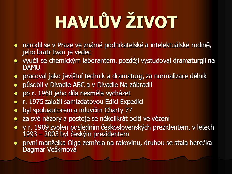HAVLŮV ŽIVOT narodil se v Praze ve známé podnikatelské a intelektuálské rodině, jeho bratr Ivan je vědec.