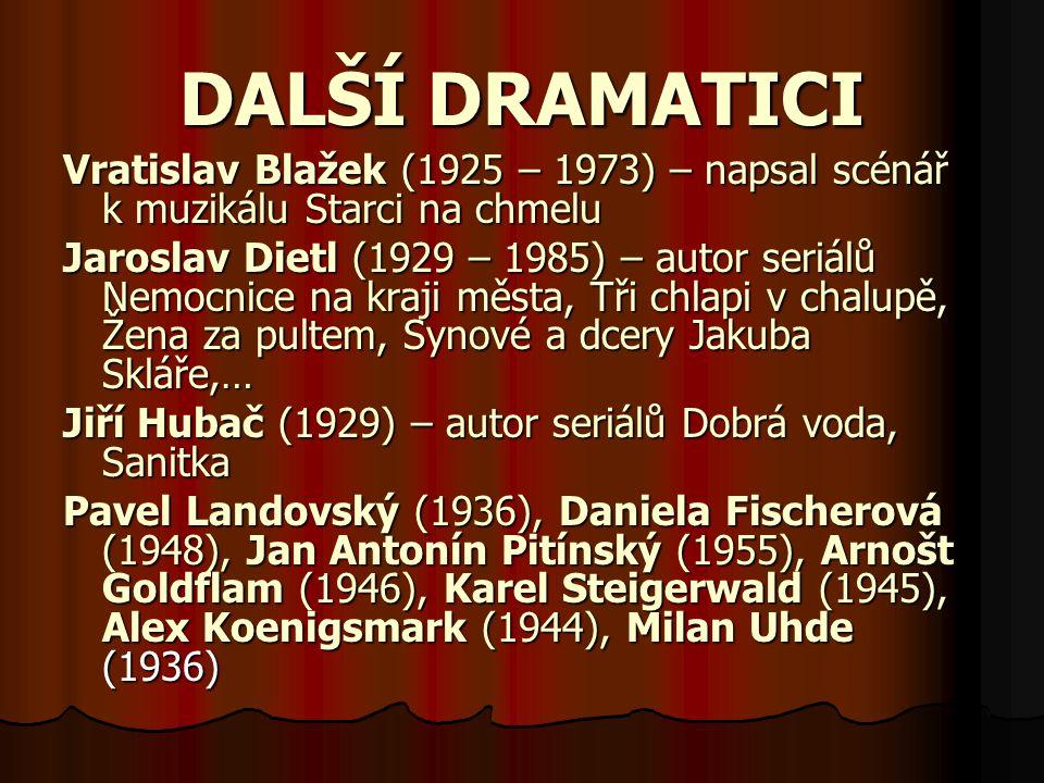DALŠÍ DRAMATICI Vratislav Blažek (1925 – 1973) – napsal scénář k muzikálu Starci na chmelu.