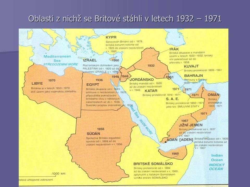 Oblasti z nichž se Britové stáhli v letech 1932 – 1971
