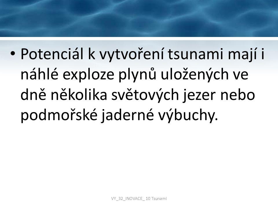 Potenciál k vytvoření tsunami mají i náhlé exploze plynů uložených ve dně několika světových jezer nebo podmořské jaderné výbuchy.