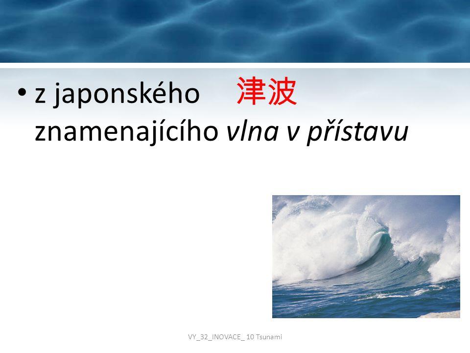z japonského 津波 znamenajícího vlna v přístavu