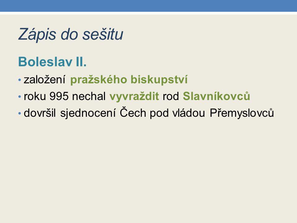 Zápis do sešitu Boleslav II. založení pražského biskupství