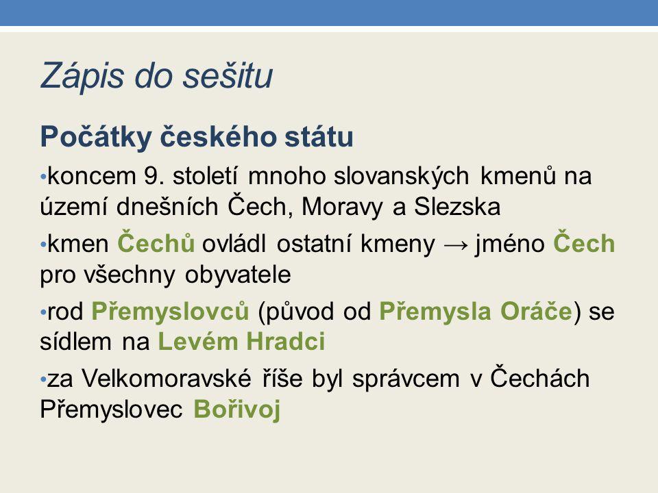 Zápis do sešitu Počátky českého státu