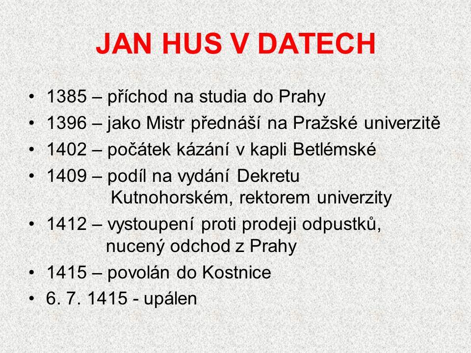 JAN HUS V DATECH 1385 – příchod na studia do Prahy