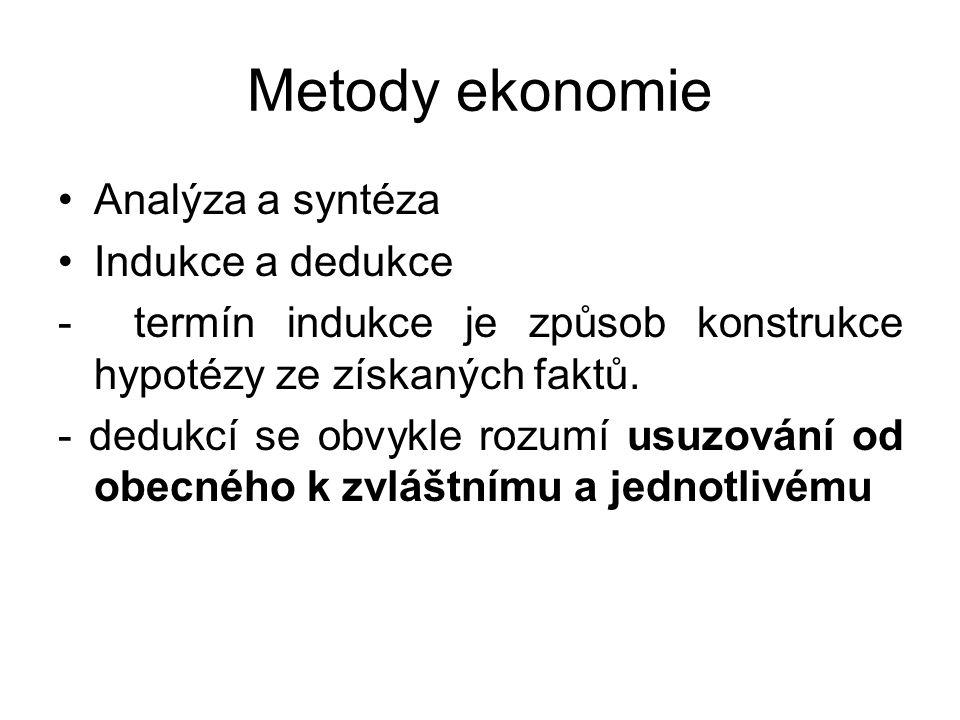 Metody ekonomie Analýza a syntéza Indukce a dedukce