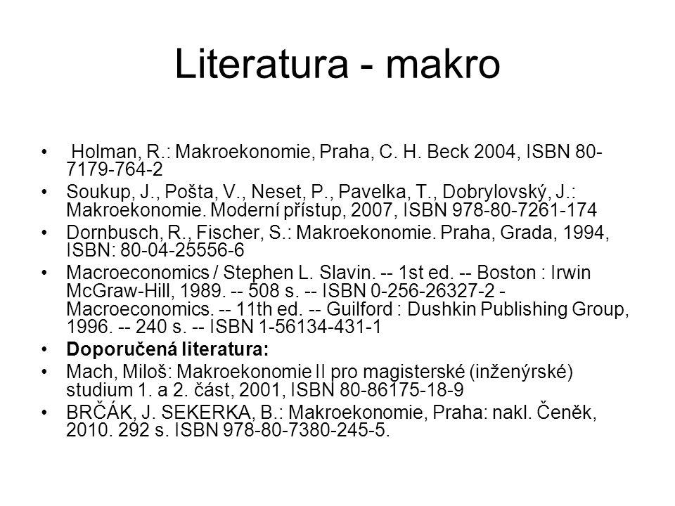 Literatura - makro Holman, R.: Makroekonomie, Praha, C. H. Beck 2004, ISBN 80-7179-764-2.