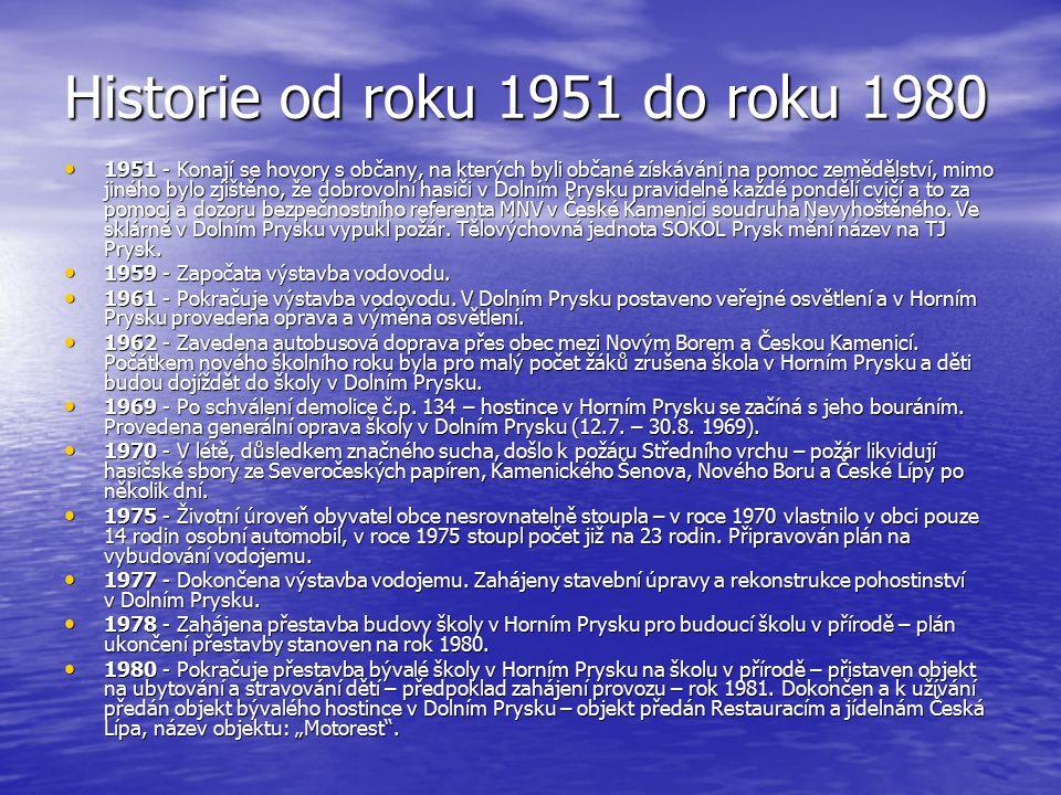 Historie od roku 1951 do roku 1980