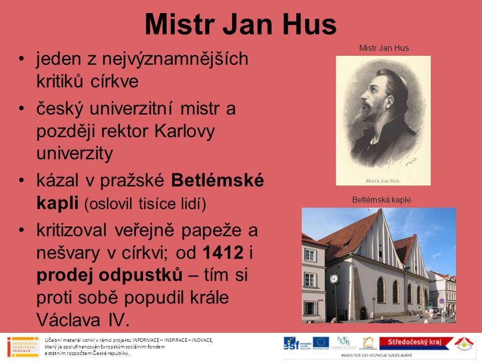 Mistr Jan Hus jeden z nejvýznamnějších kritiků církve