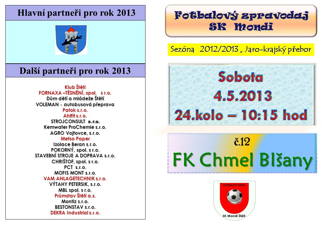 FK Chmel Blšany Sobota 4.5.2013 24.kolo – 10:15 hod č.12