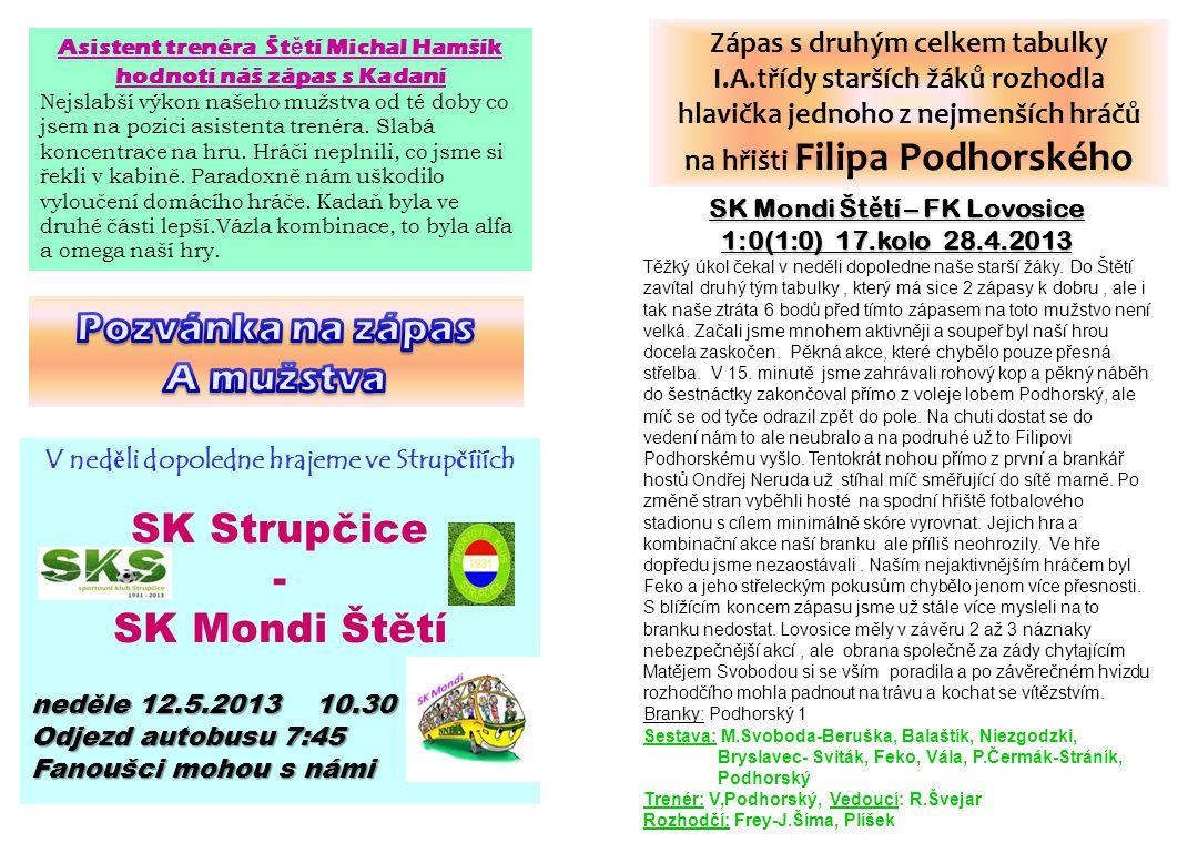 Pozvánka na zápas A mužstva SK Strupčice - SK Mondi Štětí