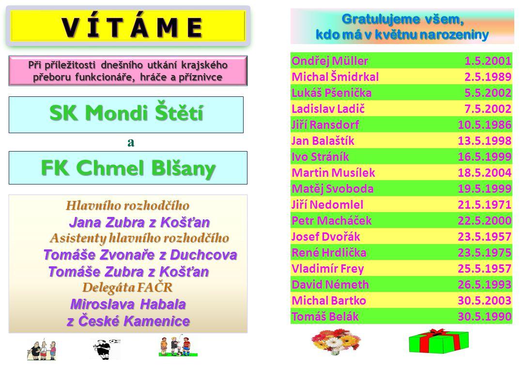V Í T Á M E SK Mondi Štětí FK Chmel Blšany a Jana Zubra z Košťan