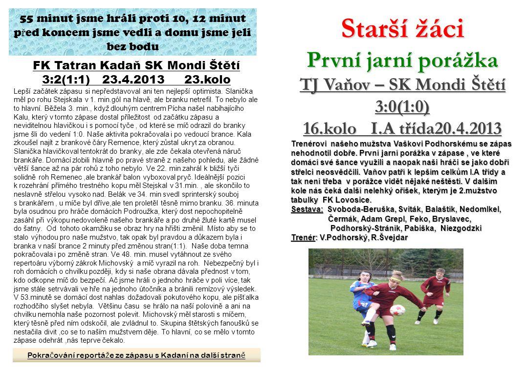 TJ Vaňov – SK Mondi Štětí FK Tatran Kadaň SK Mondi Štětí