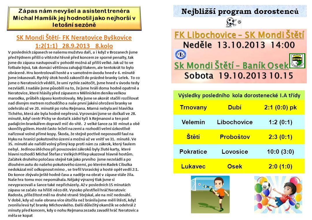 FK Libochovice – SK Mondi Štětí Neděle 13.10.2013 14:00