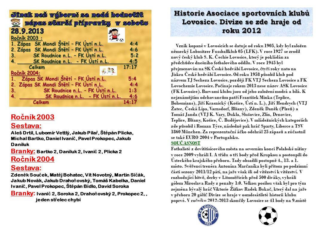 Historie Asociace sportovních klubů Lovosice