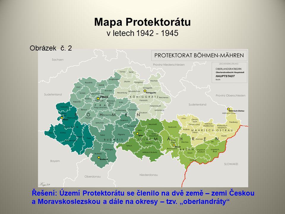 Mapa Protektorátu v letech 1942 - 1945