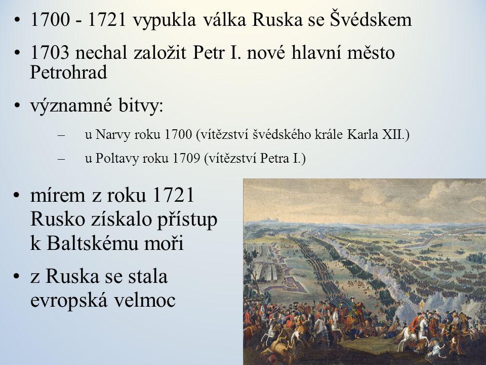 mírem z roku 1721 Rusko získalo přístup k Baltskému moři