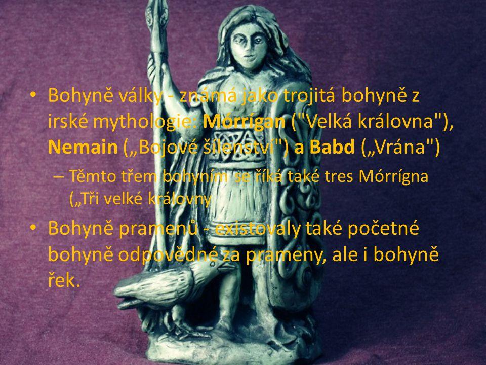 """Bohyně války - známá jako trojitá bohyně z irské mythologie: Mórrígan ( Velká královna ), Nemain (""""Bojové šílenství ) a Babd (""""Vrána )"""