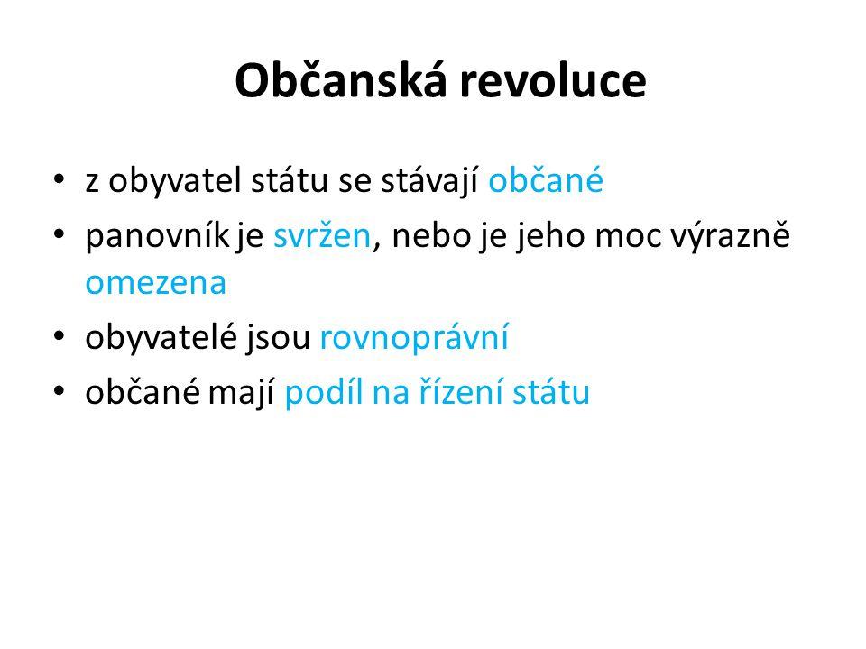 Občanská revoluce z obyvatel státu se stávají občané