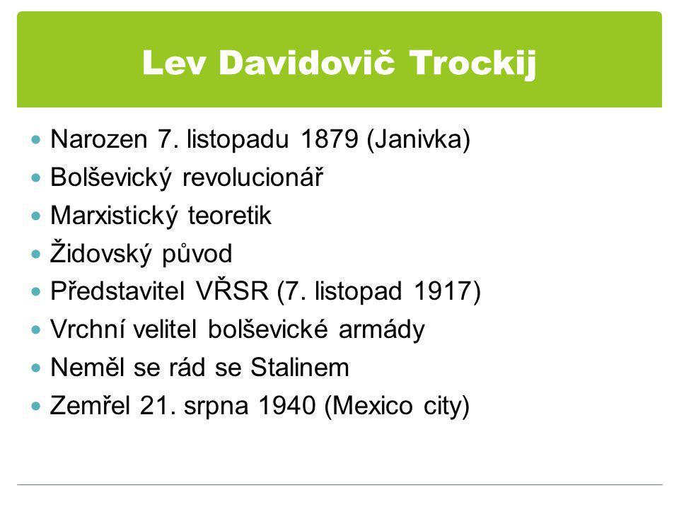Lev Davidovič Trockij Narozen 7. listopadu 1879 (Janivka)