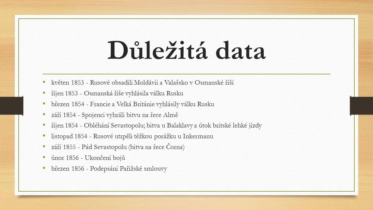 Důležitá data květen 1853 - Rusové obsadili Moldávii a Valašsko v Osmanské říší. říjen 1853 - Osmanská říše vyhlásila válku Rusku.