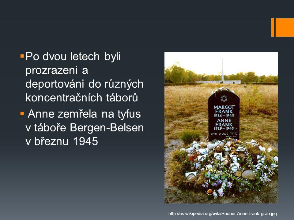 Anne zemřela na tyfus v táboře Bergen-Belsen v březnu 1945