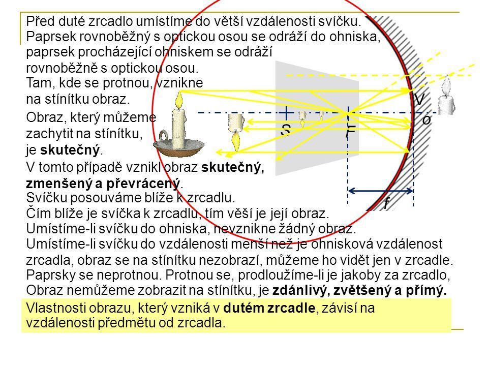 V o S F f Před duté zrcadlo umístíme do větší vzdálenosti svíčku.