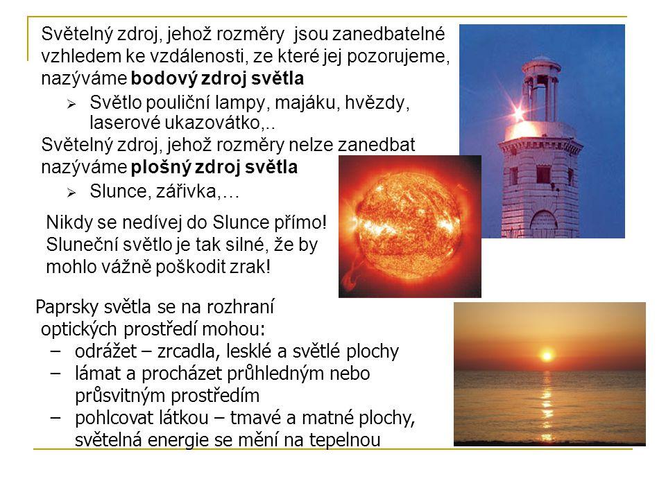 Světelný zdroj, jehož rozměry jsou zanedbatelné vzhledem ke vzdálenosti, ze které jej pozorujeme, nazýváme bodový zdroj světla