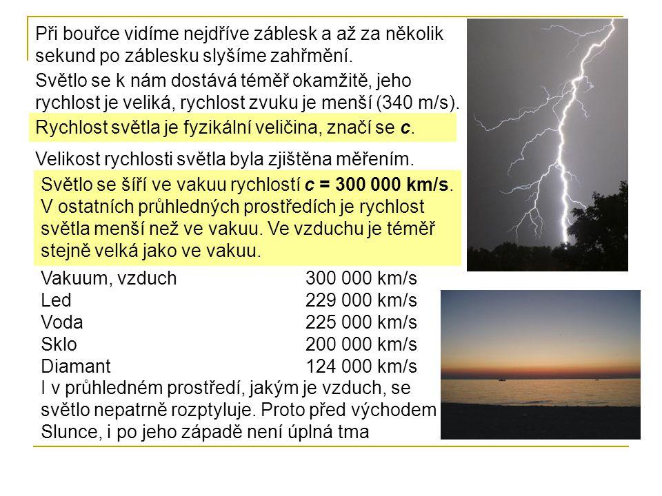 Při bouřce vidíme nejdříve záblesk a až za několik sekund po záblesku slyšíme zahřmění.