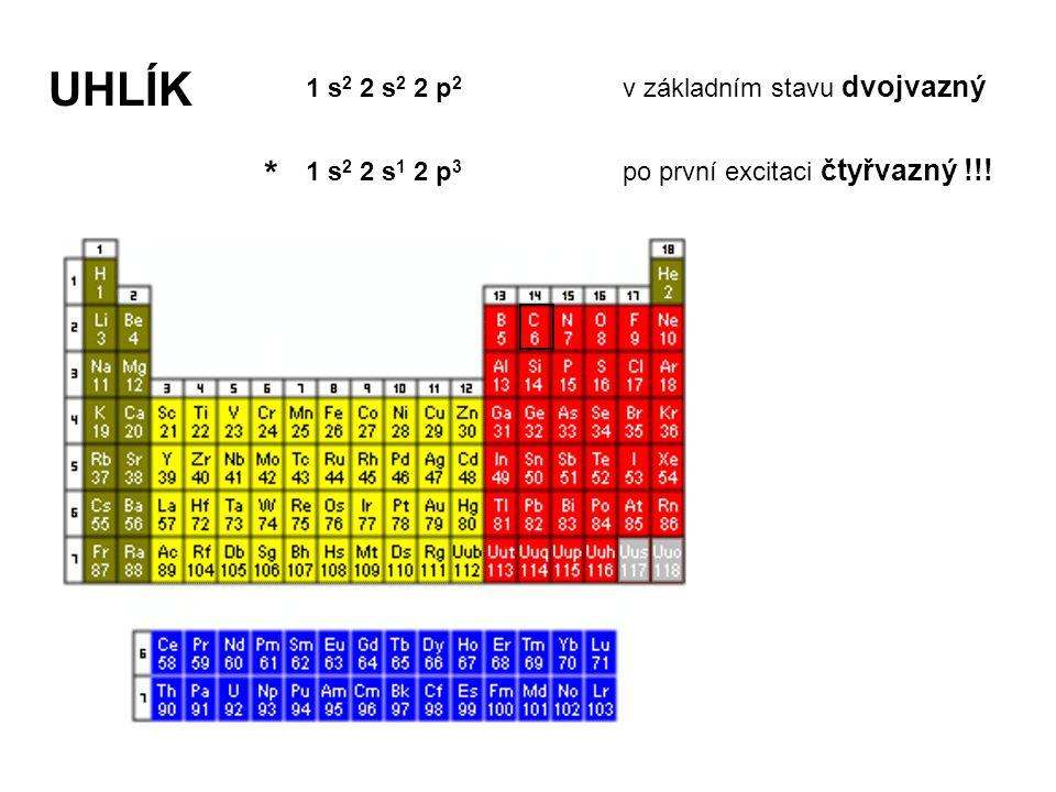UHLÍK UHLÍK * 1 s2 2 s2 2 p2 v základním stavu dvojvazný