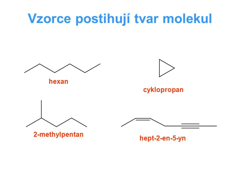 Vzorce postihují tvar molekul