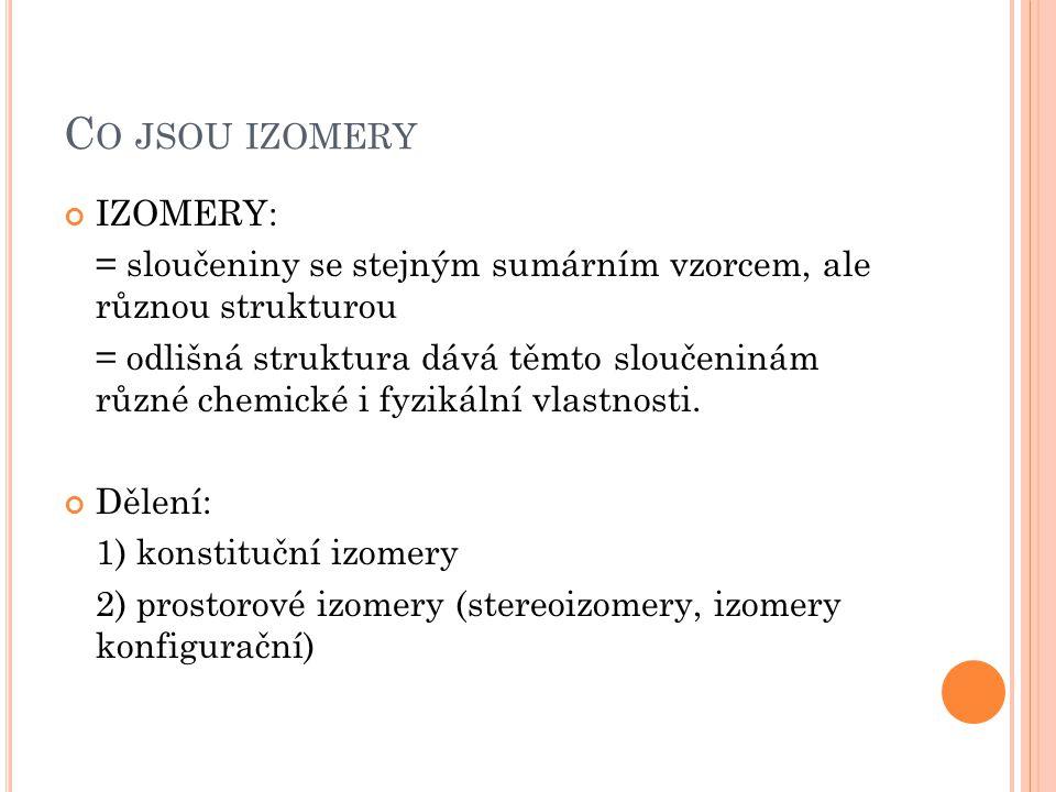 Co jsou izomery IZOMERY:
