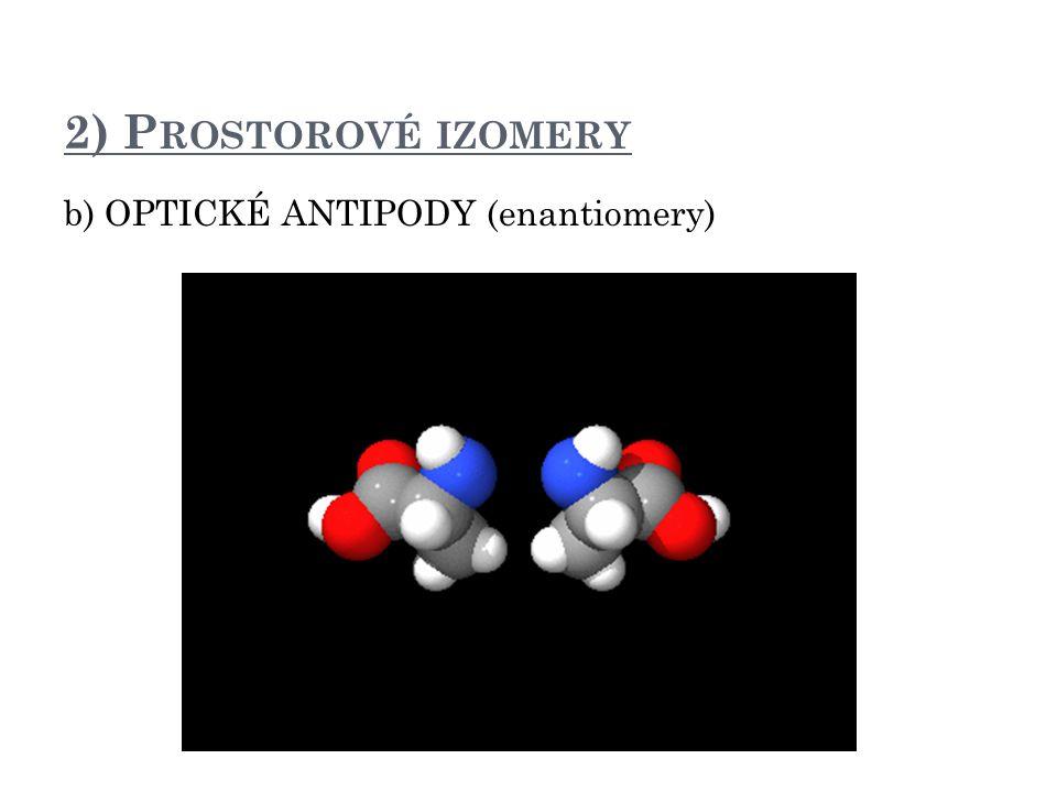 2) Prostorové izomery b) OPTICKÉ ANTIPODY (enantiomery) D a L alanin