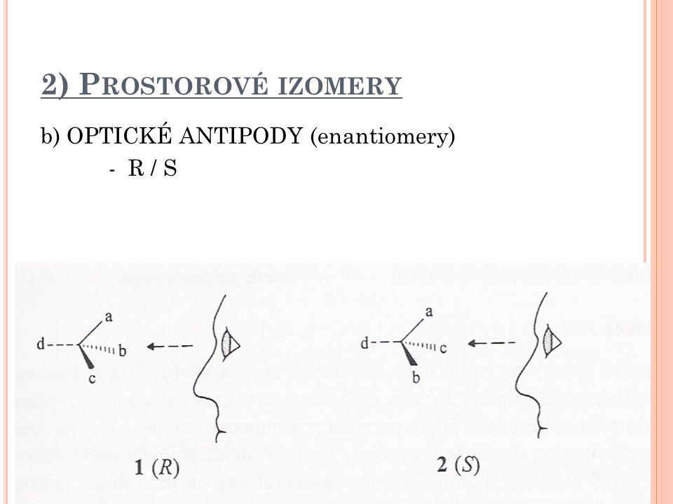2) Prostorové izomery b) OPTICKÉ ANTIPODY (enantiomery) - R / S