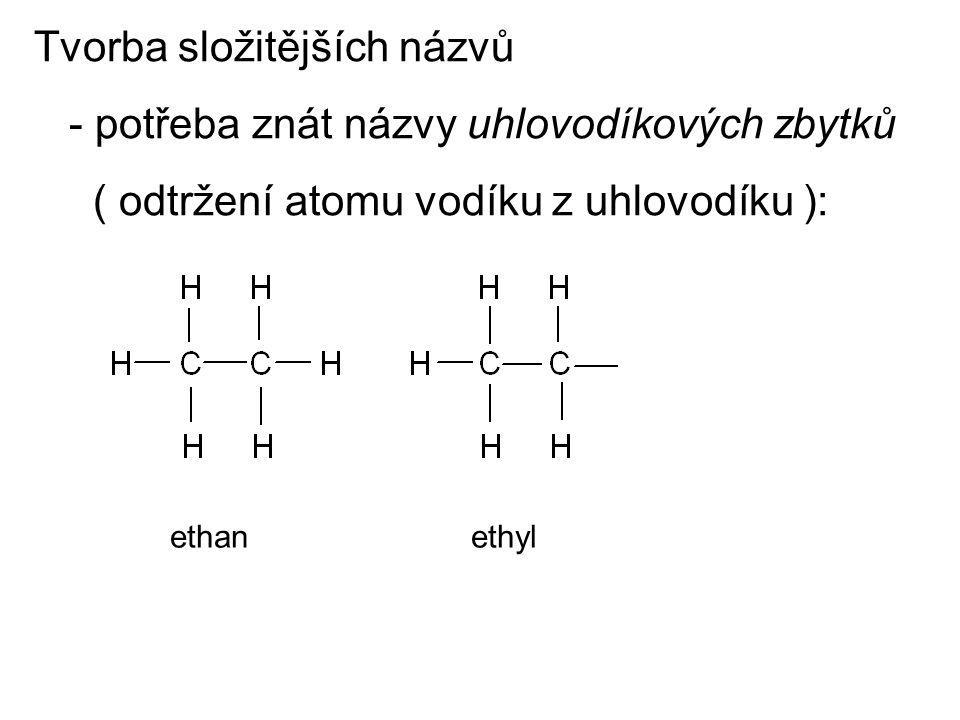 Tvorba složitějších názvů - potřeba znát názvy uhlovodíkových zbytků