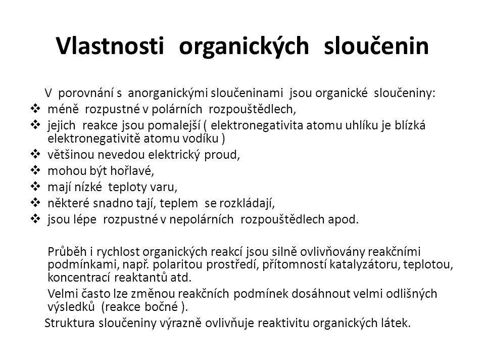 Vlastnosti organických sloučenin