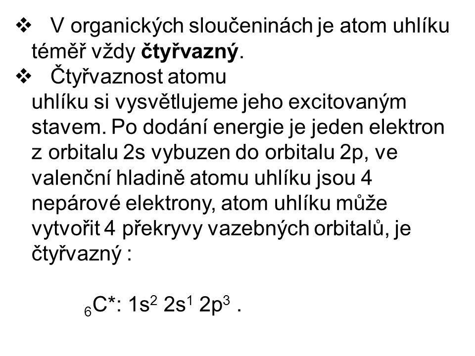 V organických sloučeninách je atom uhlíku