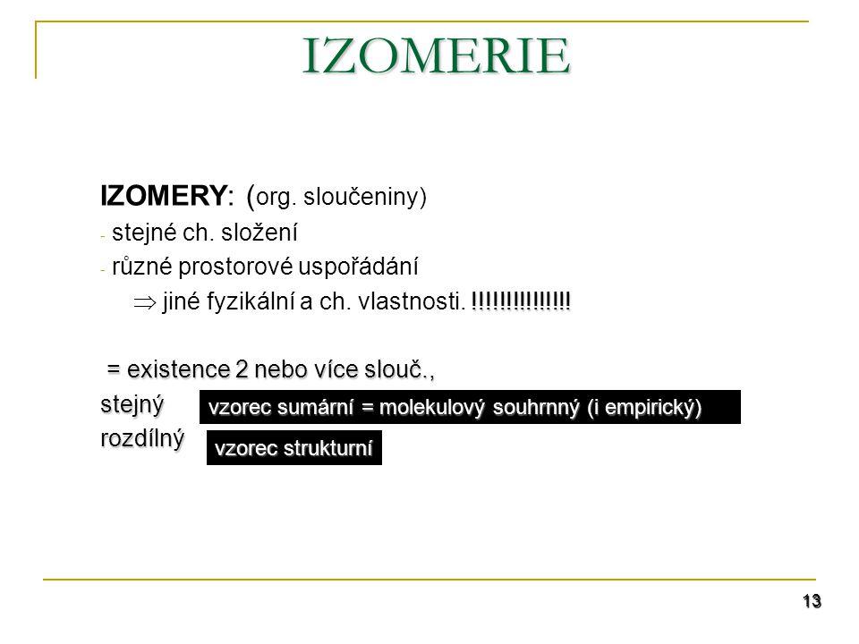 IZOMERIE IZOMERY: (org. sloučeniny) stejné ch. složení