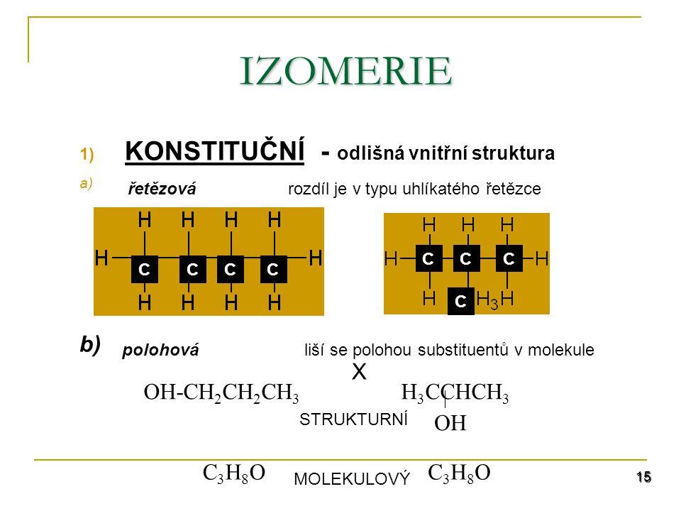 KONSTITUČNÍ - odlišná vnitřní struktura b) X