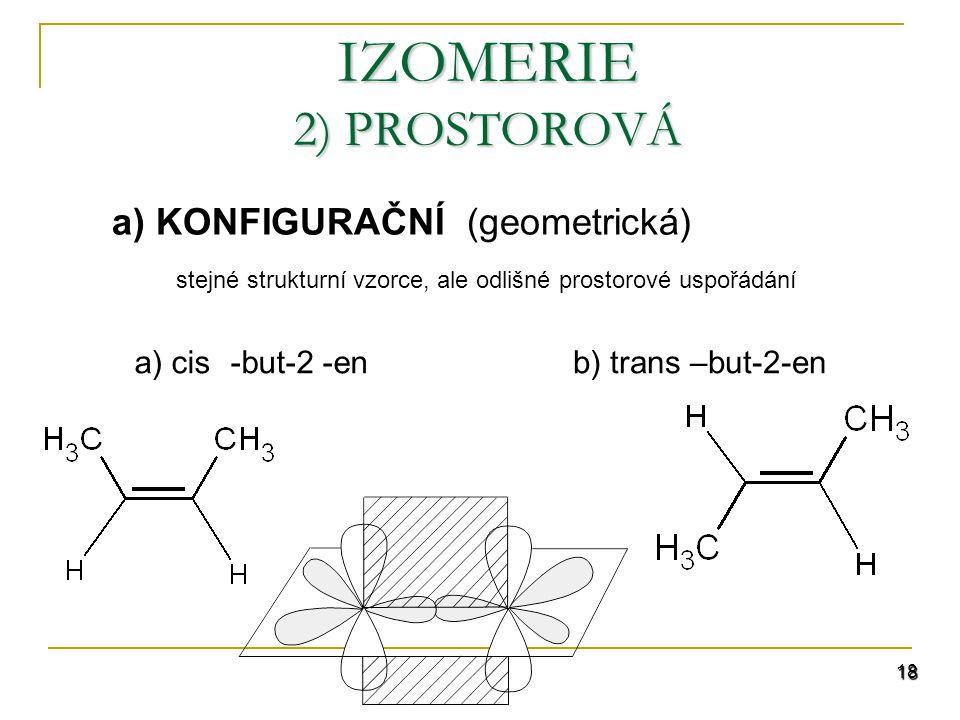 IZOMERIE 2) PROSTOROVÁ a) KONFIGURAČNÍ (geometrická)