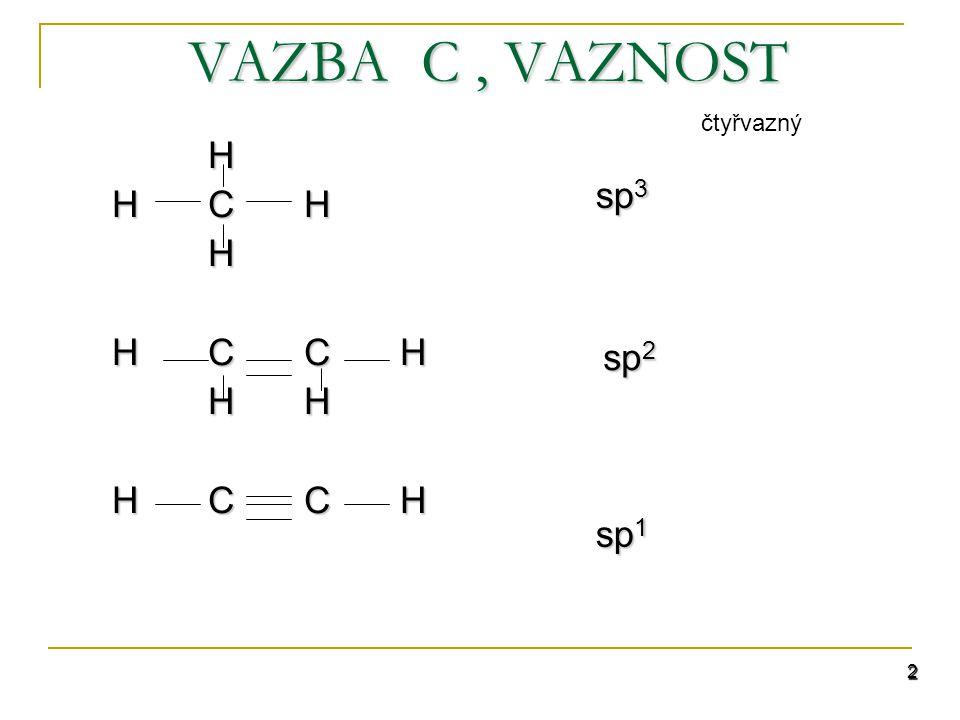 VAZBA C , VAZNOST čtyřvazný H H C H H C C H H H sp3 sp2 sp1