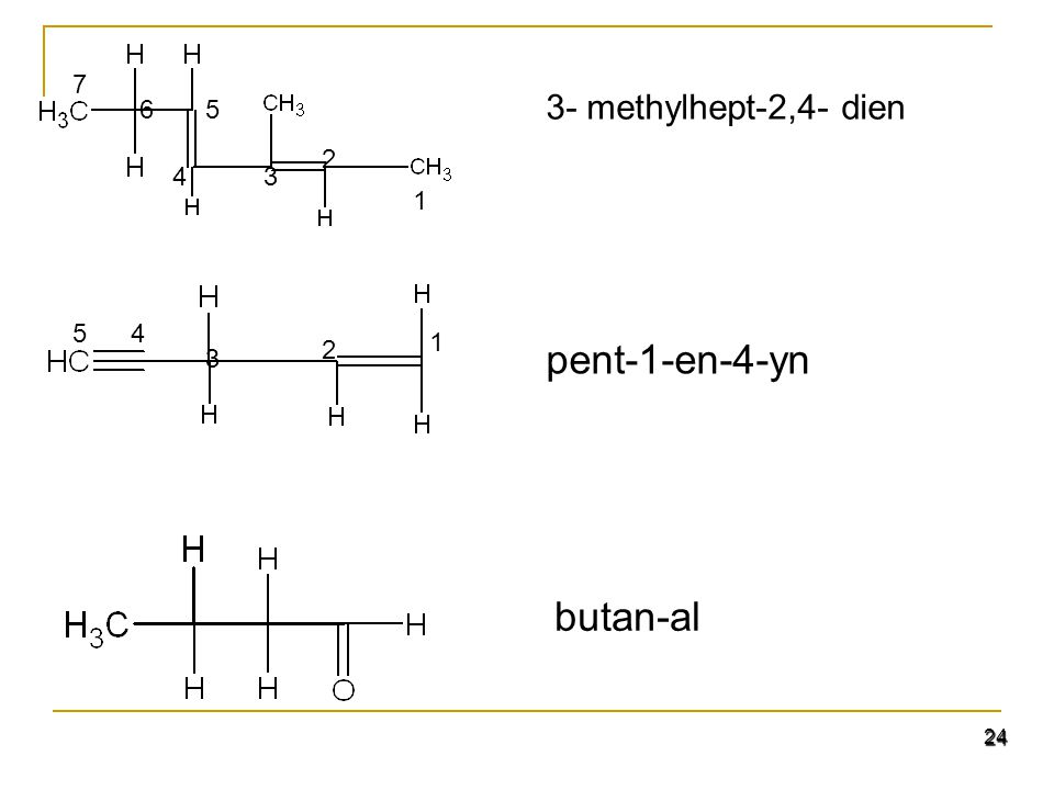 pent-1-en-4-yn butan-al 3- methylhept-2,4- dien 1 2 3 5 4 6 7 1 2 3 4