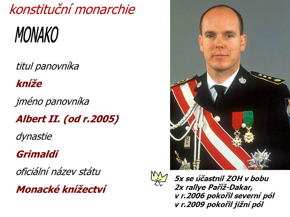 MONAKO konstituční monarchie titul panovníka kníže jméno panovníka