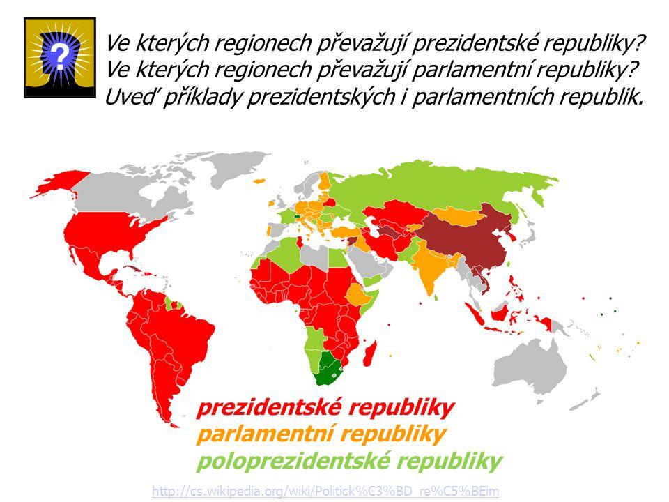 Ve kterých regionech převažují prezidentské republiky