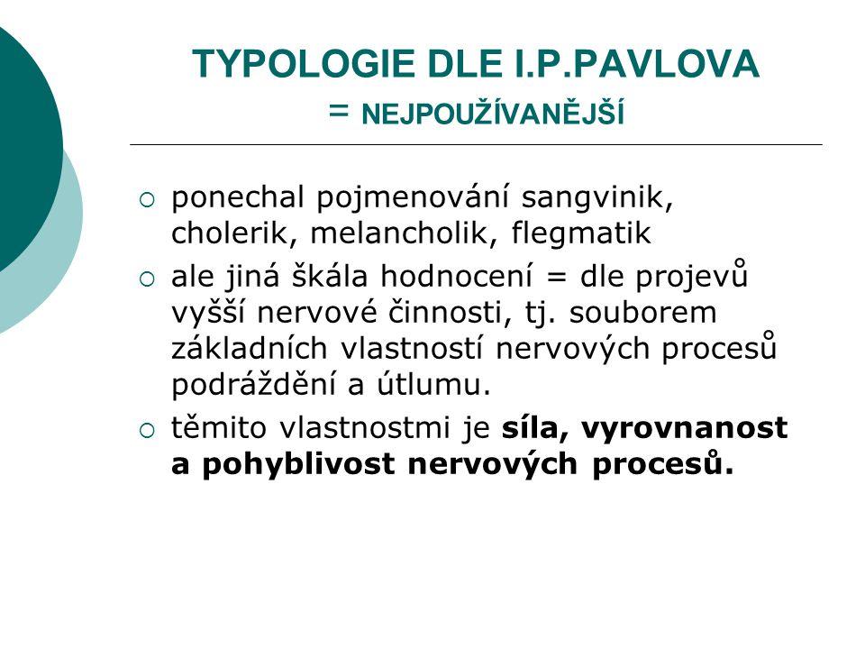 TYPOLOGIE DLE I.P.PAVLOVA = NEJPOUŽÍVANĚJŠÍ