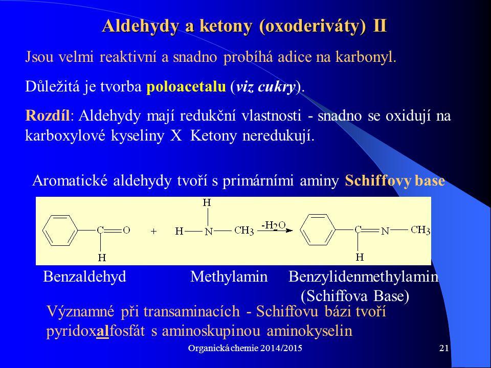 Aldehydy a ketony (oxoderiváty) II