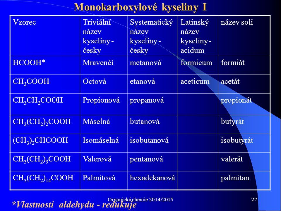 Monokarboxylové kyseliny I